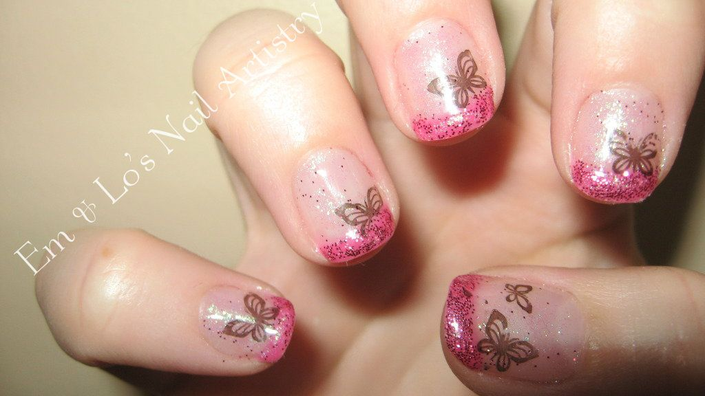 Pink French Overlay with Glitter Fade and Butterfly Nail Art - gel ...