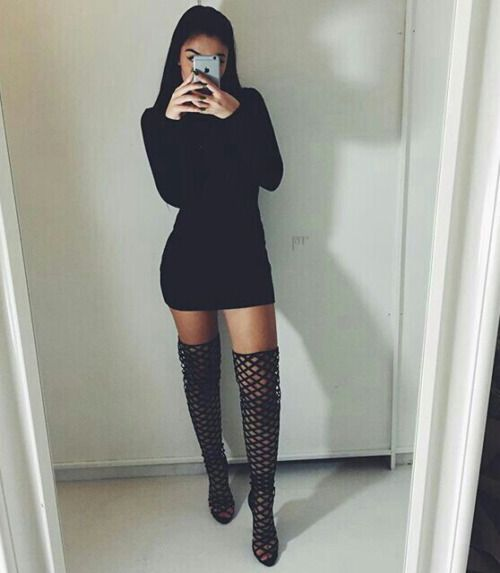 faed52363167a Cut out thigh high boots (otk boots), black bodycon dress, and all black  outfit. Midi dress. Night out.