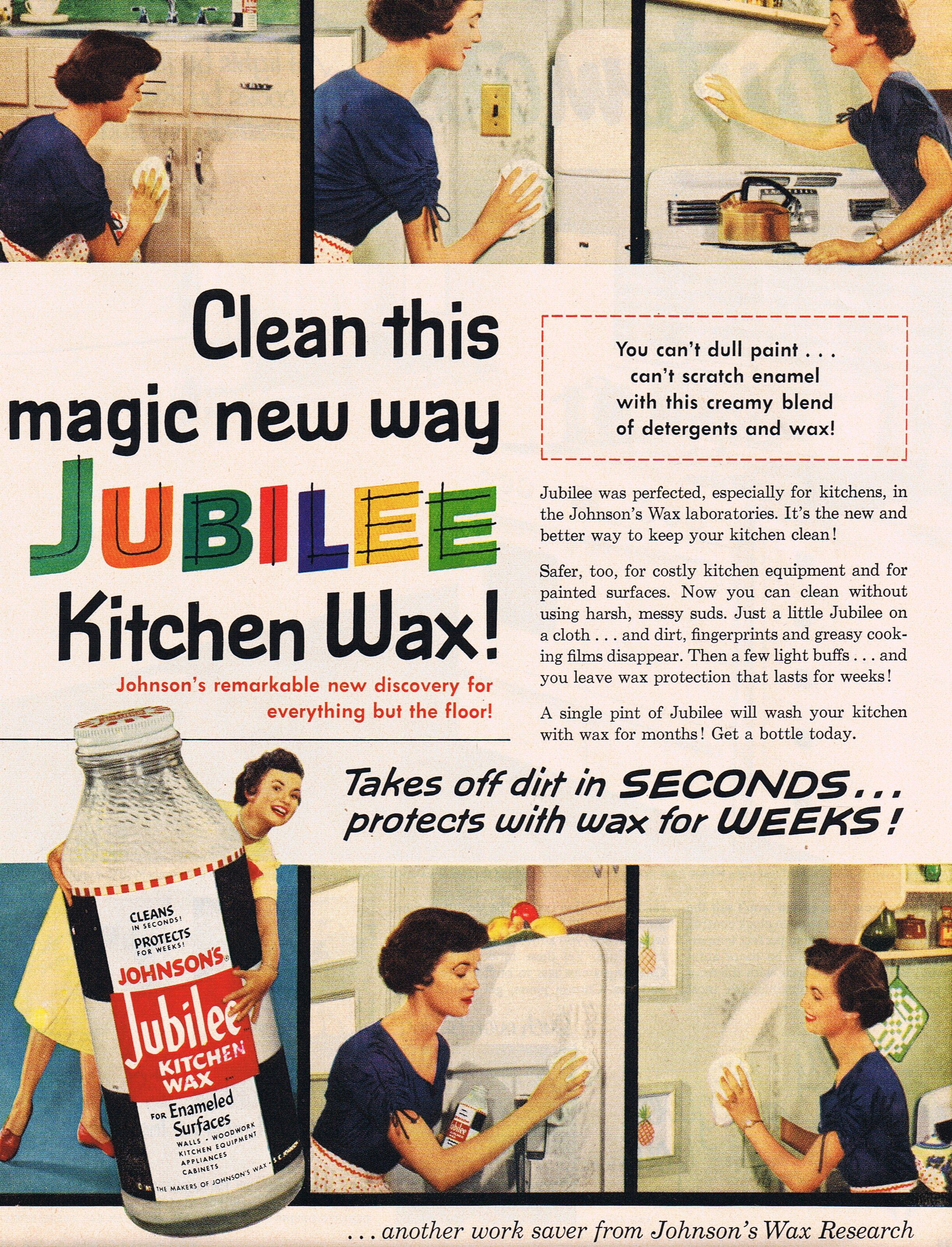 jubilee kitchen wax grandmother had this under the kitchen sink to clean the refrigerator and stove it went on white then you buffed it out like car wax - Jubilee Kitchen Wax