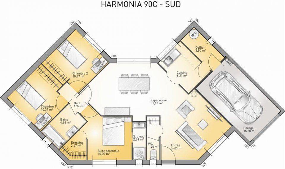 Plan maison neuve à construire - Maisons France Confort Harmonia 90