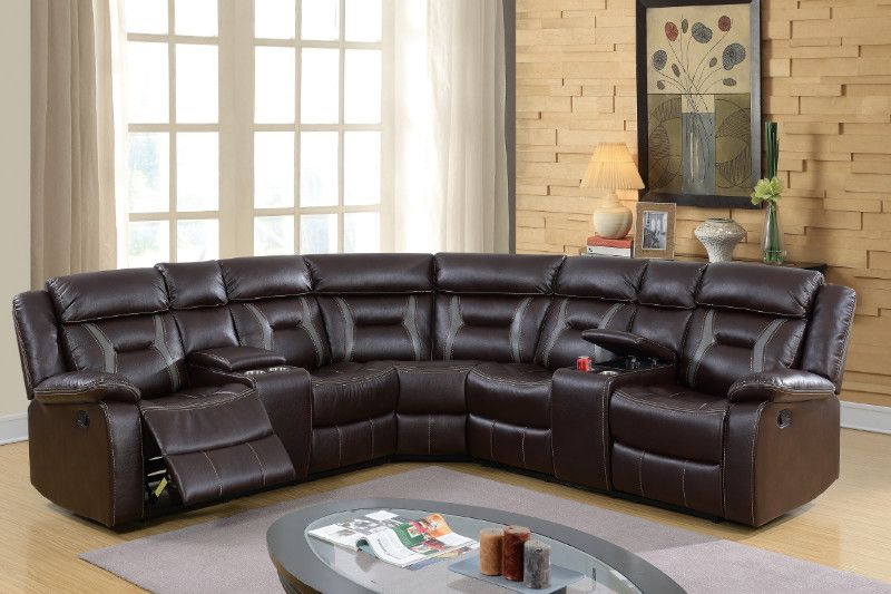 Poundex F6649 3 Pc Collette Ii Dark Brown Gel Leatherette Sectional Sofa With Consoles And Recliners Sectional Sofa Sectional Sofa With Recliner Reclining Sectional