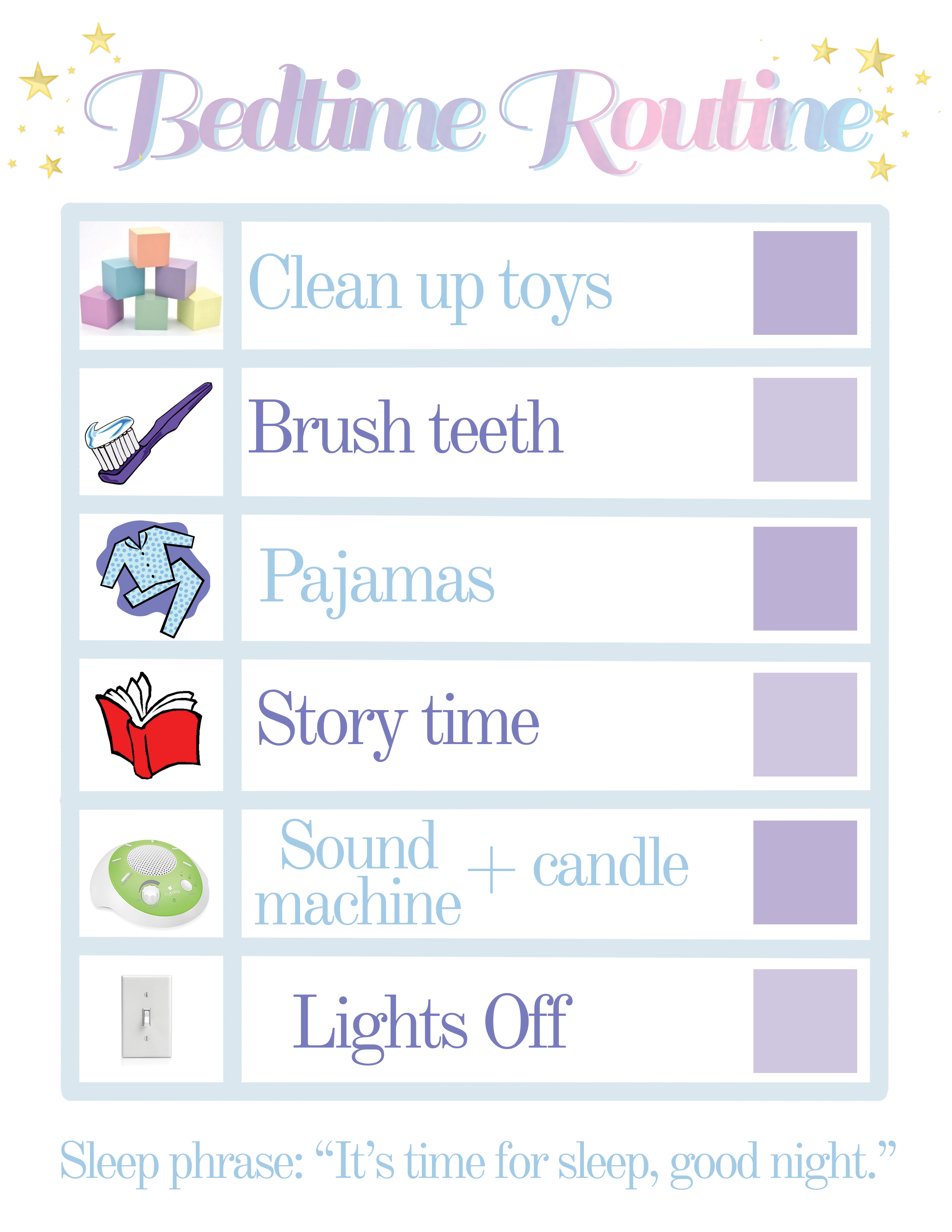 Bedtime Routine Chart With Images