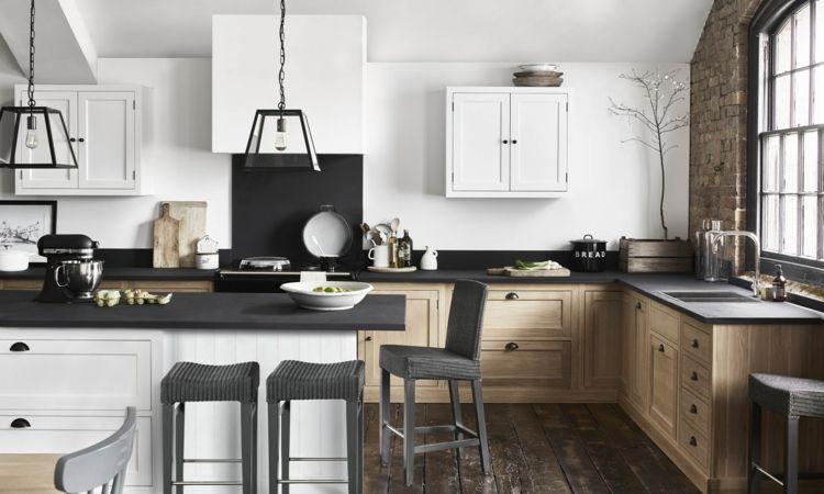 Gestaltung Küche schiefer arbeitsplatte landhausstil küche skandinavisch tipps