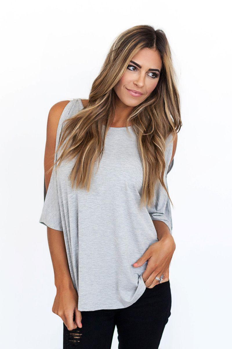 Heather Grey Button Sleeve Dolman - Dottie Couture Boutique
