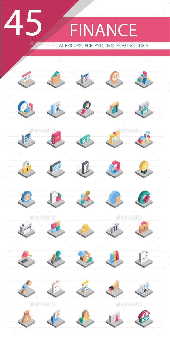 50 Finance Isometric Vector Icons Isometric, Budget