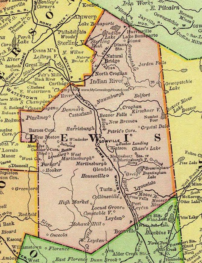 Lewis County, New York, 1897, Map, Rand McNally, Lowville - new world map denmark copenhagen