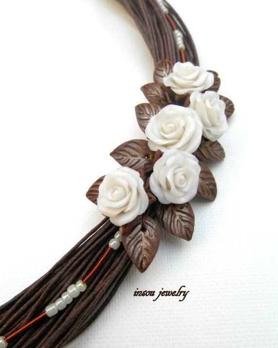 Handmade bib necklace  Brown statement necklace  by insoujewelry
