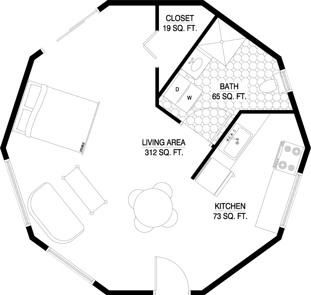 Layouts For Dome Homes Plans: 517 Sq Ft Round House Plan, 26 Ft Diameter