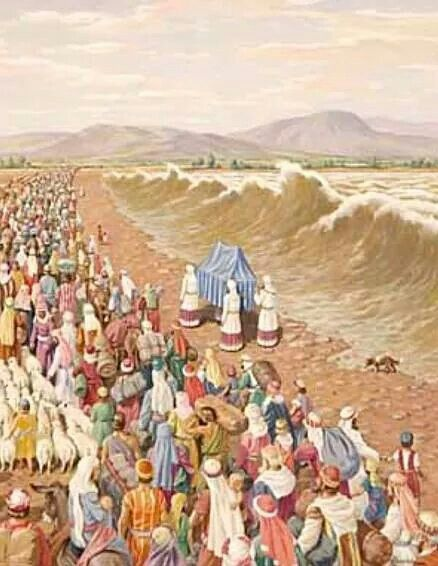 crossing the Jordan River | Biblical art, Bible art, Bible pictures
