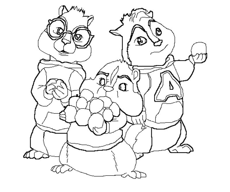 Alvin And The Chipmunks Drawings AZ Coloring Pages Line