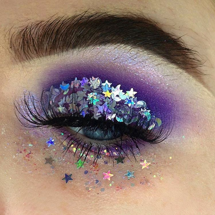 editorial makeup stars and moon glitter eye look