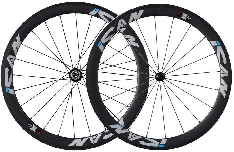Ican 50mm Carbon Road Bike Wheels 700c Clincher Sapim Cx Ray