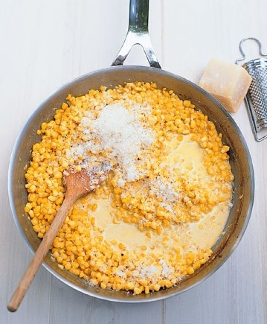 Delicious Creamed Corn with Parmesan - I used half and half instead of heavy cream and thickened it up with corn starch and cold water.