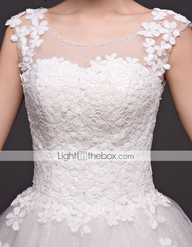 Ball Gown Wedding Dress Floor-length Jewel Organza with Appliques / Beading 4263863 2016 – ₩117,564