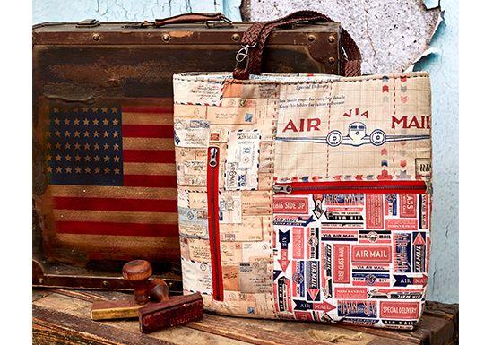 Air Mail Patchwork Zipper Tote Bag
