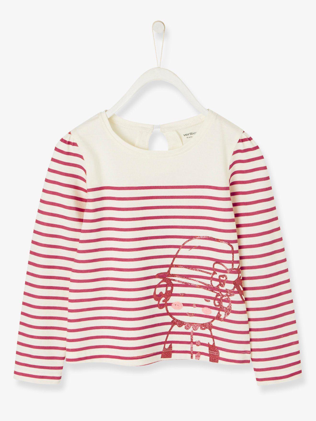 915758c635a5a T-shirt fille esprit marinière en jersey framboise rayé - Rayures et motif  craquant