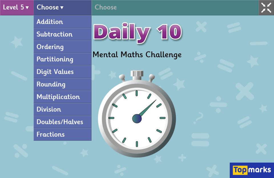 Daily 10 Mental Maths Challenge Topmarks Math Challenge Mental Math Math Websites