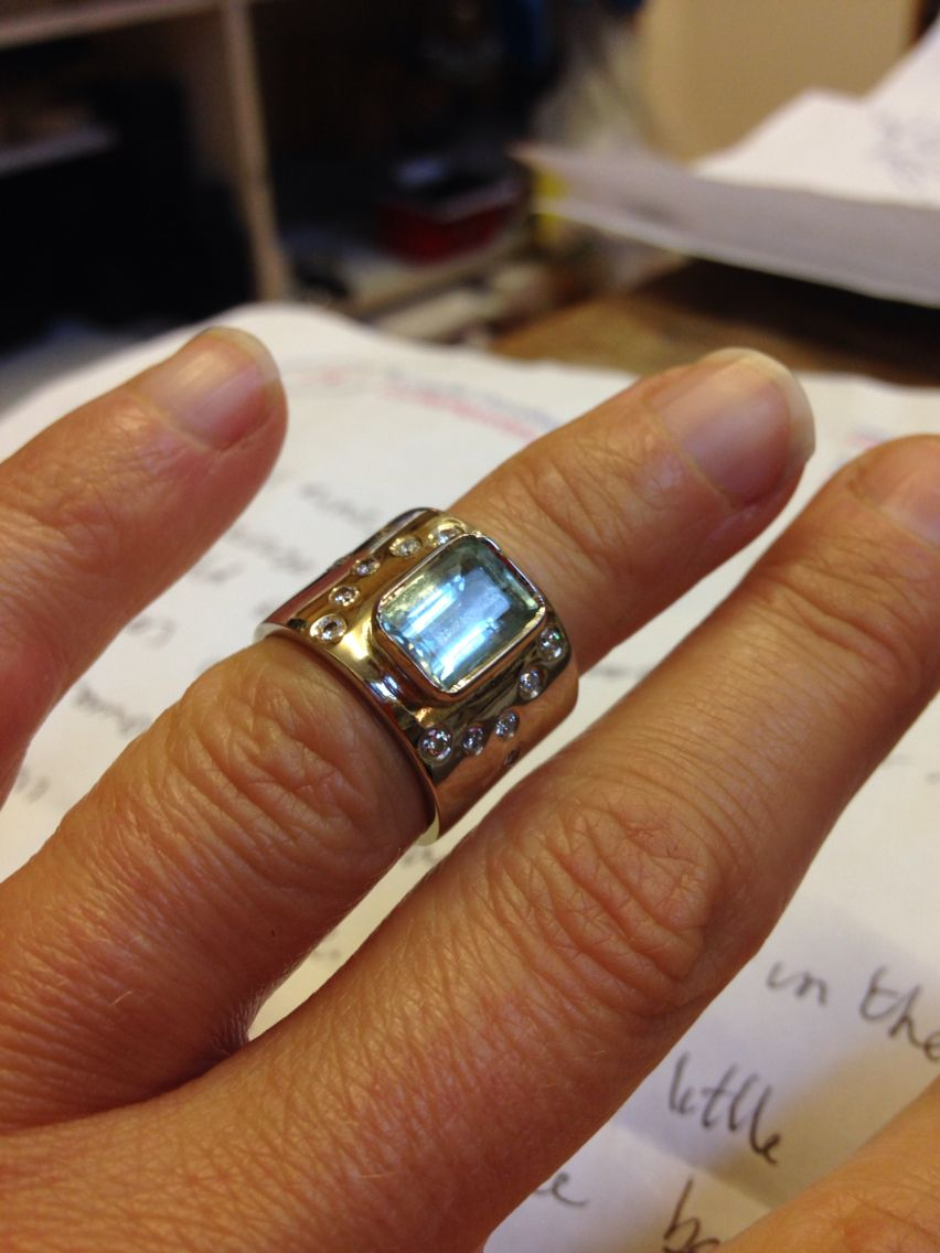 Silver and White gold ring made with customers old aquamarine and diamonds.