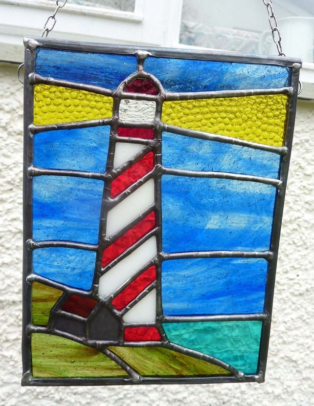 Stained Glass Lighthouse with Crofters Hut Sun Catcher (SOLD) £59.00
