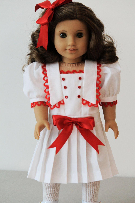 White sailor style dress for American Girl dolls Rebecca or Samantha. $45.00, via Etsy.