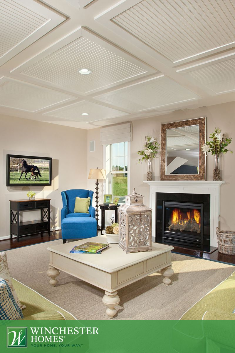 The Reverse Tray Ceiling Creates A Poignant Contrast With The Traditional Fireplace Design In The Westover Model And Fl Home Winchester Homes Fireplace Design