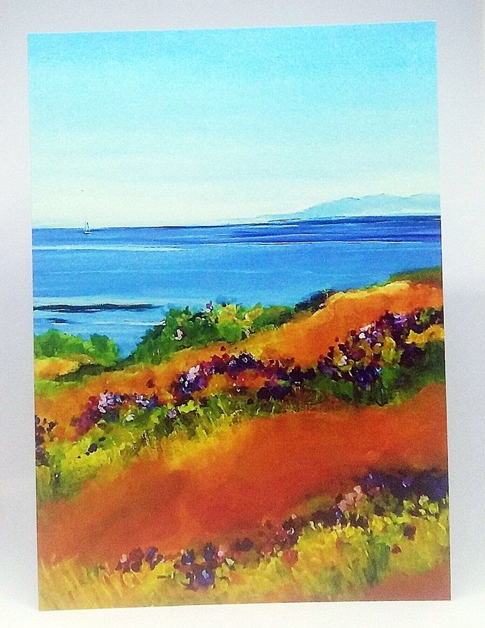 island spring greeting card painting of vancouver island