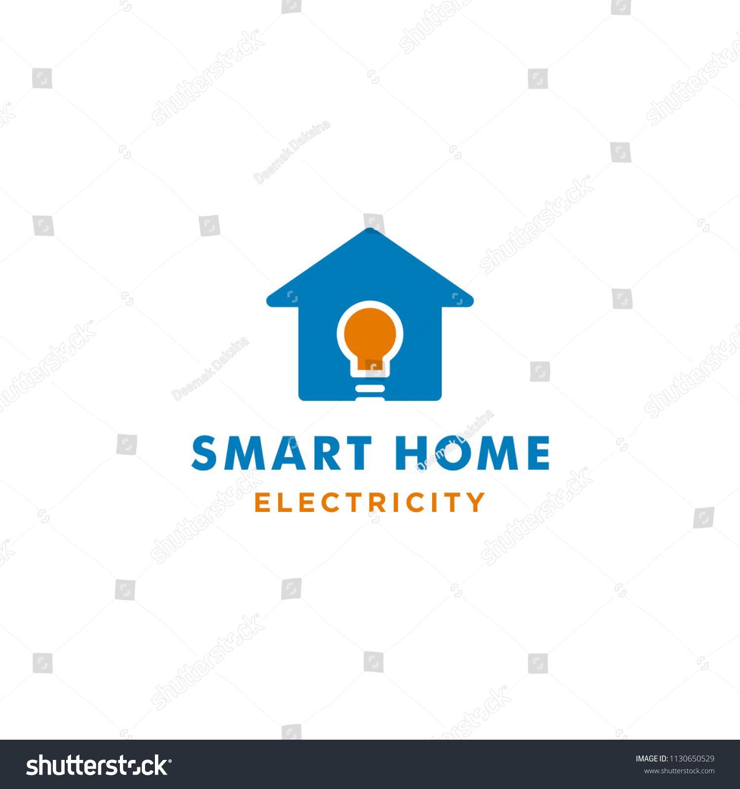 Smart Home Logo Design Light Bulb. smart, home, technology