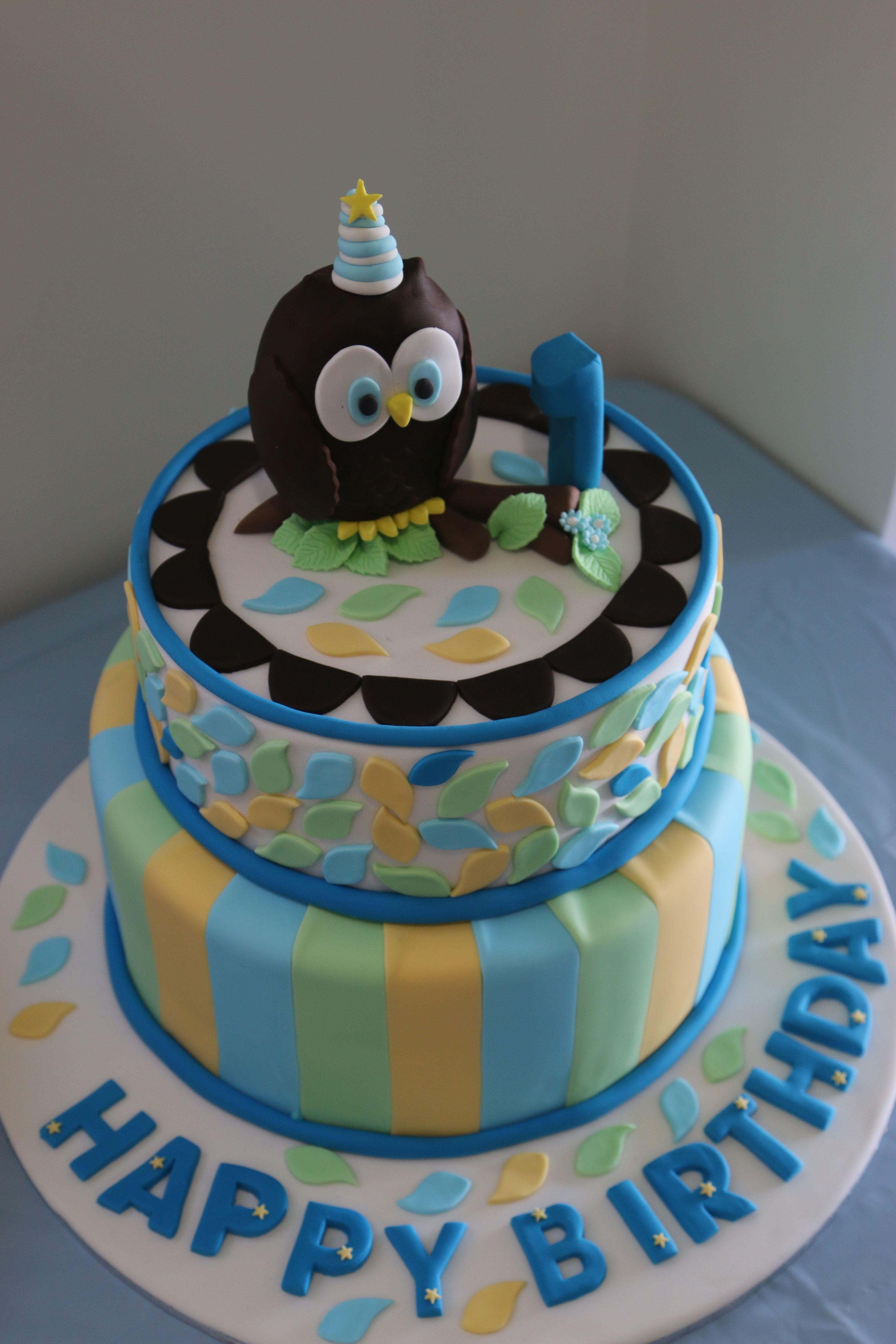 Owl First Birthday Cake Maximum Cakes Pinterest Birthday Cakes