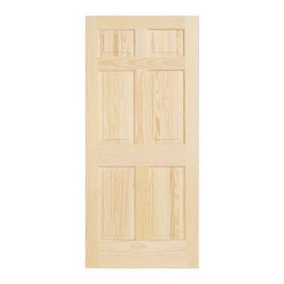 Jeld Wen 30 In X 80 In Woodgrain 6 Panel Unfinished Pine Interior Door Slab 5223 0 The Home Depot Wood Doors Interior Doors Interior Pine Interior Doors