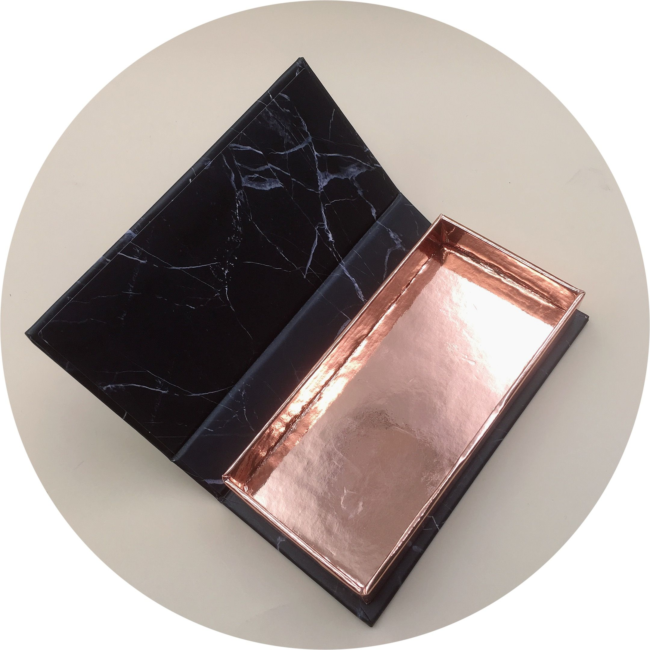 black marble and rose gold eyelash packaging with your