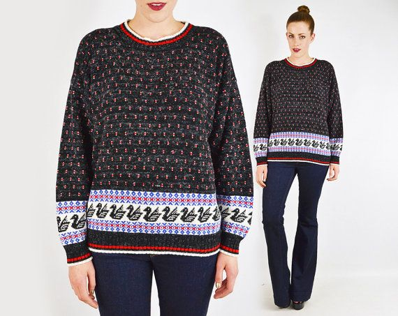 black fair isle sweater, 80s fair isle sweater, fairisle sweater ...