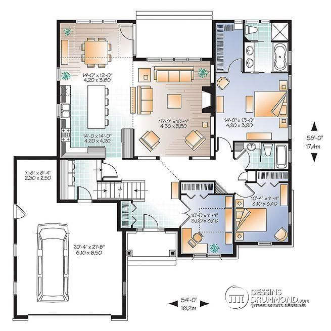 W3226-V2 - Maison style Américaine, 2 à 3 chambres, bureau à - maisons plain pied plans gratuits