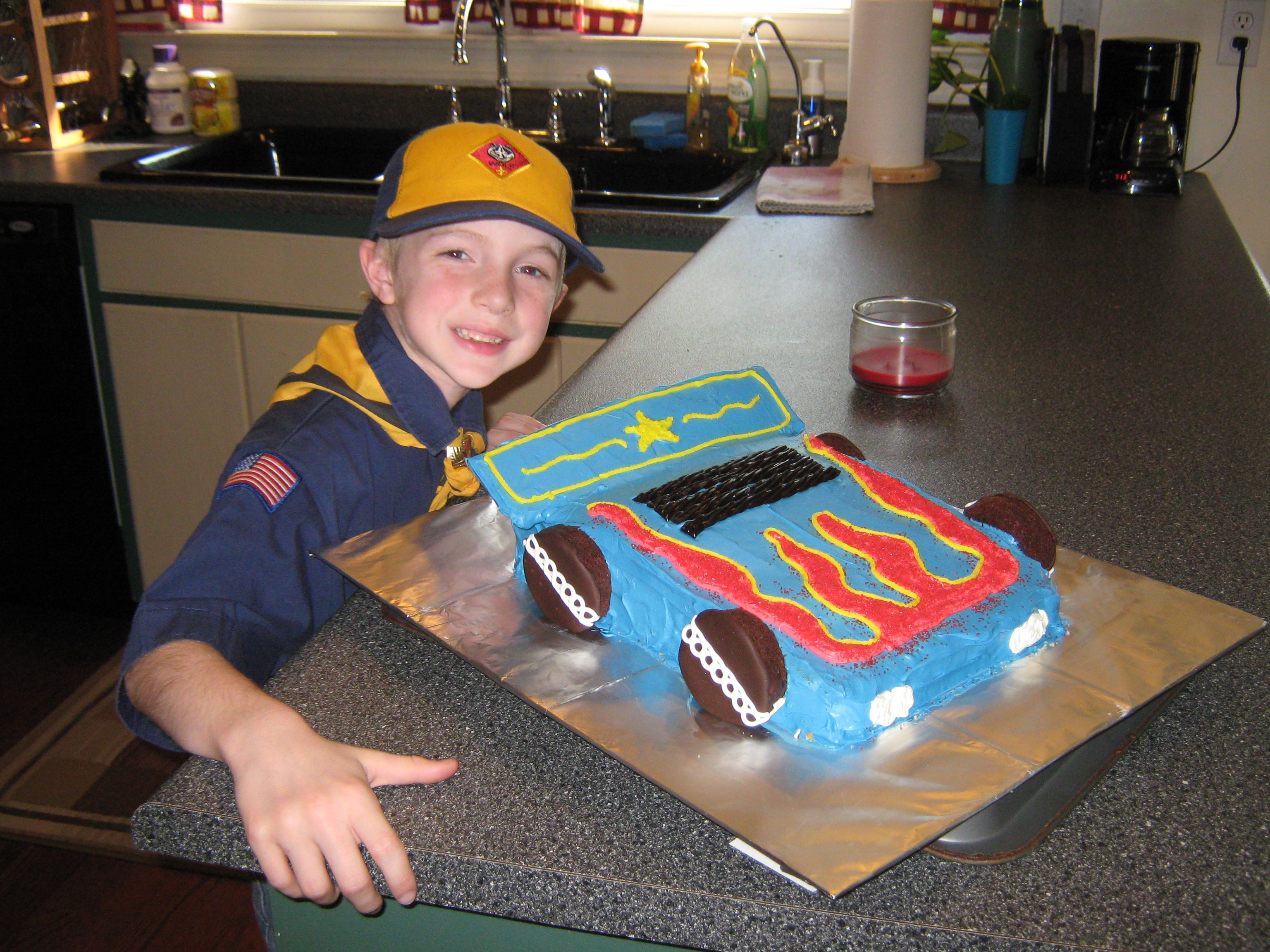 This Is A Pinewood Derby Car Cake For Our Blue And Gold Decorating Contest