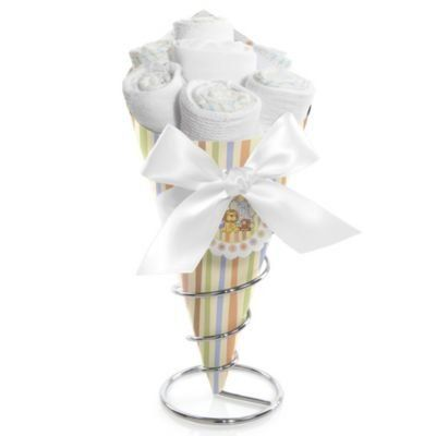 Zoo Crew - Baby Shower Diaper Bouquets . $29.99. Our Zoo Crew baby shower diaper bouquets will make the perfect centerpiece for your baby shower. Elegant enough to fit any venue, they are proudly displayed in a chrome stand that swirls up around the diaper bouquet for a stunning presentation. Each set comes packed with gifts for the new baby that are rolled up to resemble flowers. A gift and a centerpiece in one, our creative Zoo Crew diaper bouquets make it easy t...