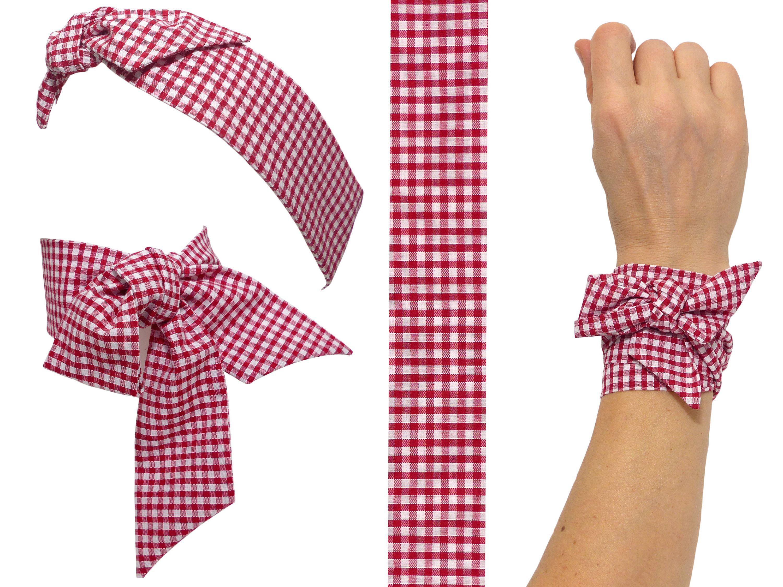 e4c259fa9722 Polina Couture - Foulard Twilly Vichy rouge   blanc en Coton japonais,  Bandeau à Cheveux, Bracelet, Headband, pin-up, retro rockabilly, carreaux