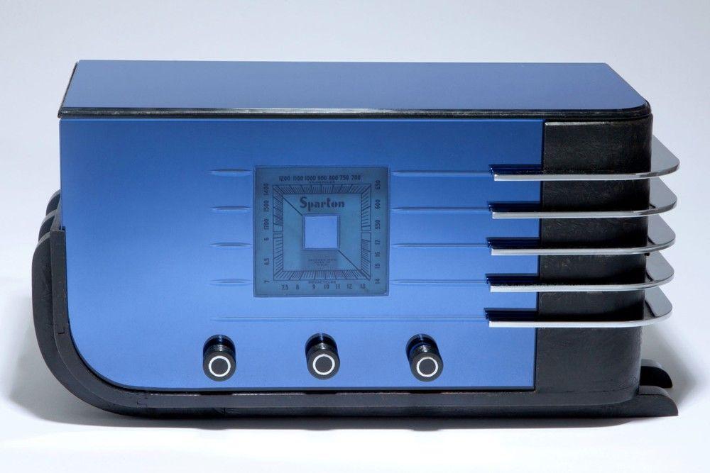 "Sparton 557 ""Sled"" Radio in Cobalt Blue Mirror Art Deco"