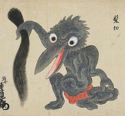 "Kami-Kiri (hair cutter) sneaks up behind prey cutting their hair off  from the Bakemono Zukushi  (""monster scroll"")"