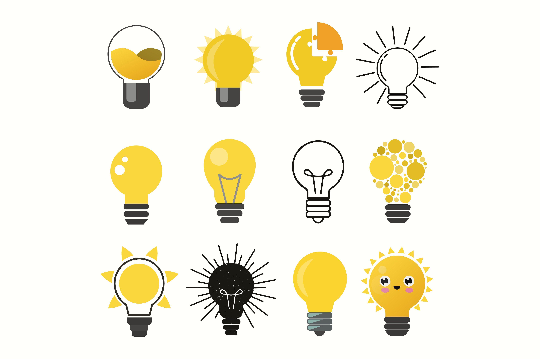 Light Bulbs Vector Set Light Bulb Vector Light Bulb Logo Bulb