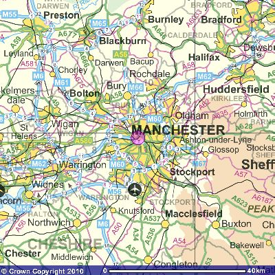 Map Of England Knutsford.City Of Manchester England Map Intermediate Scale Maps Of