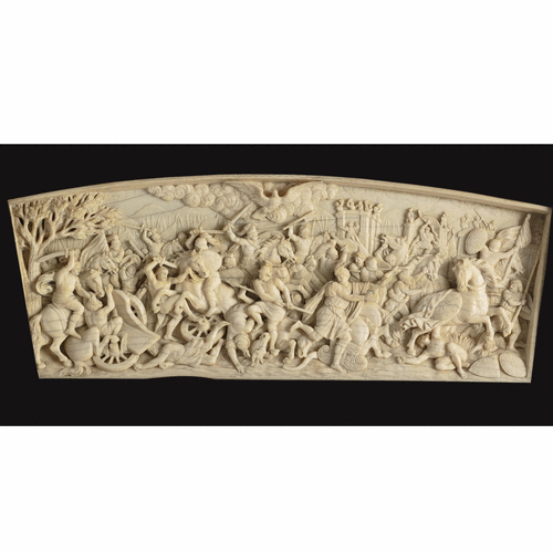 German carved ivory relief of a battle scene.