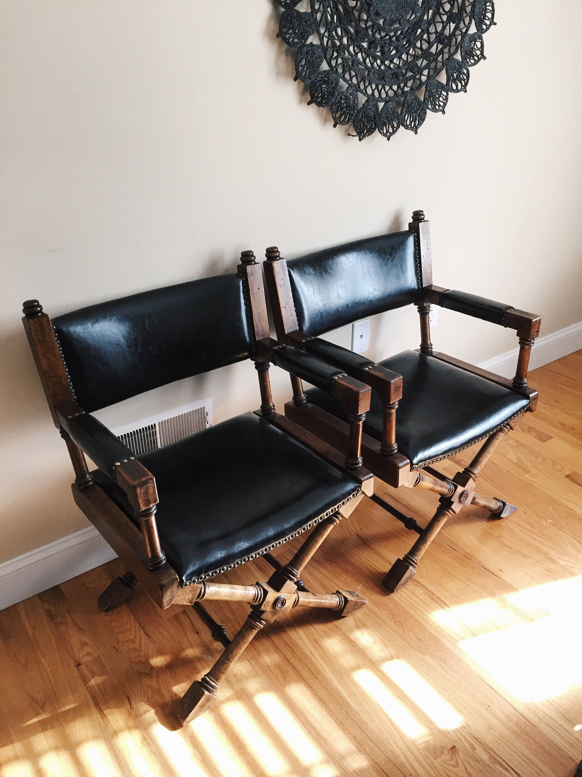 Outstanding Pair Of Vintage Campaign Style Arm Chairs Black Faux Cjindustries Chair Design For Home Cjindustriesco