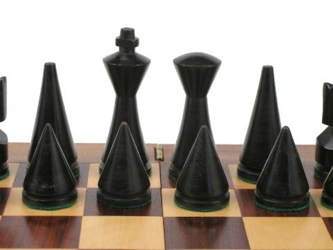 Contemporary Chess Set reproduced modern mid century minimalist hermann ohme wooden