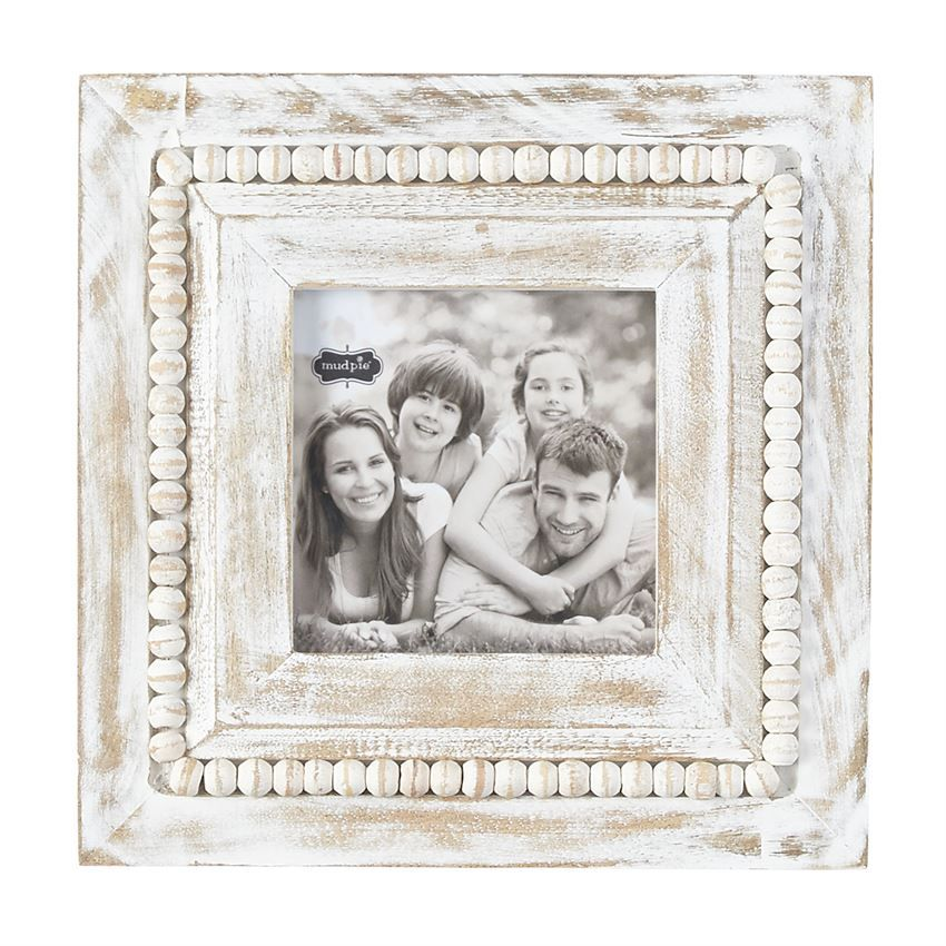 Square Whitewash Beaded Picture Frame Picture On Wood How To