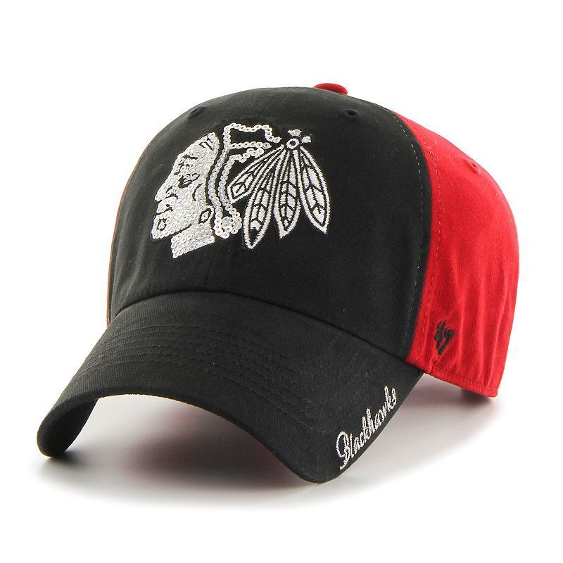 Women s  47 Brand Chicago Blackhawks Sparkle Logo Clean Up Adjustable Cap 312eb1803
