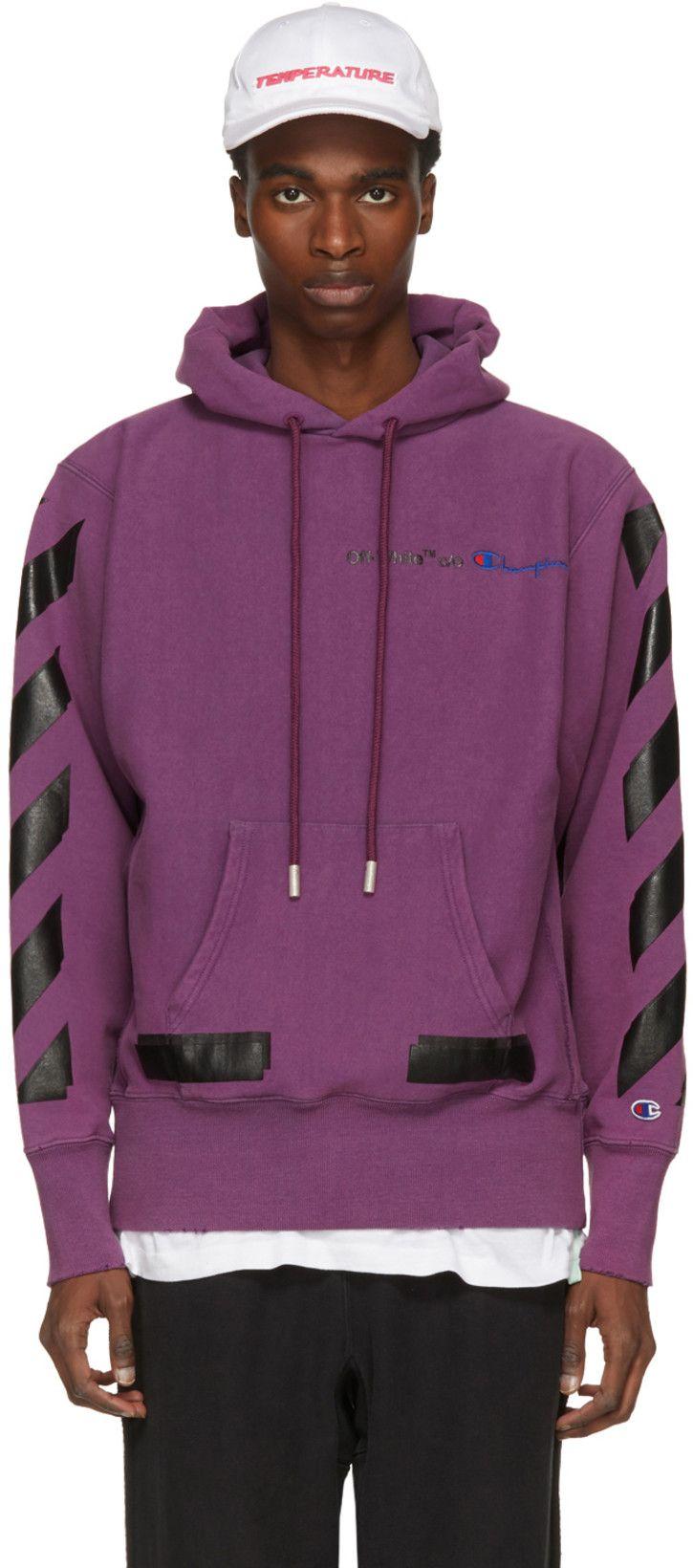 Off White Purple Champion Reverse Weave Edition Hoodie Hoodies Champion Reverse Weave Off White Clothing
