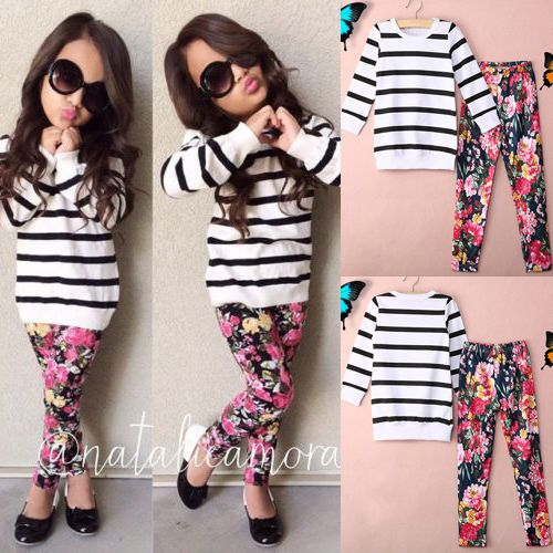 Toddler Kids Baby Girls Striped Tops T-shirt Pants Leggings Outfits Clothes Set