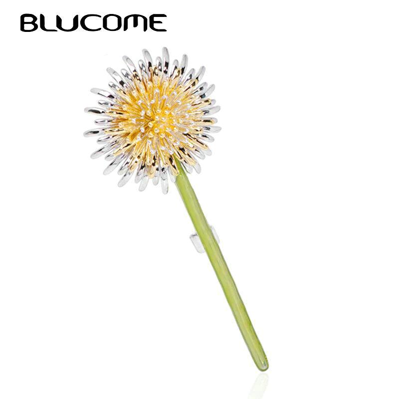 Green Dandelion Flower Enamel Brooches Women Mens Weddings Plants Brooch Pins Gifts