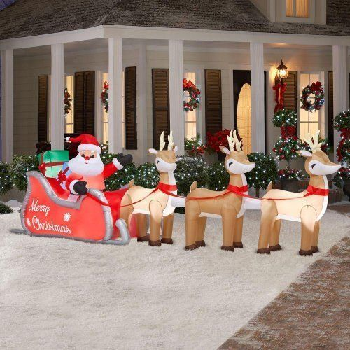 16 Ft Colossal Christmas Inflatable Lighted Santa In Sleigh With - inflatable outdoor christmas decorations