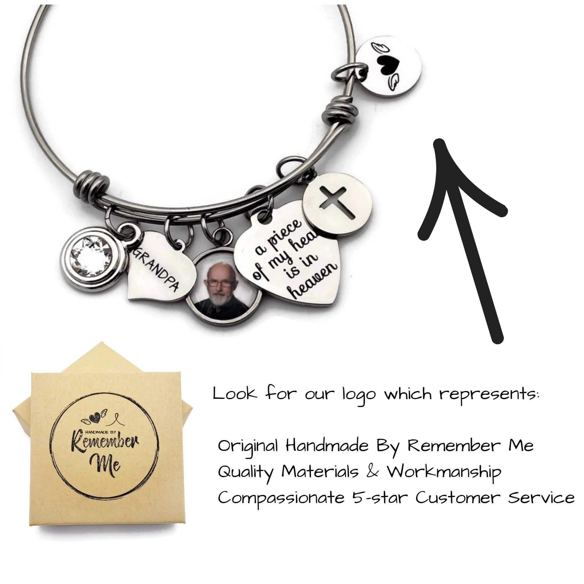A piece of my heart is in Heaven Memorial Bracelet Miscarriage Gifts