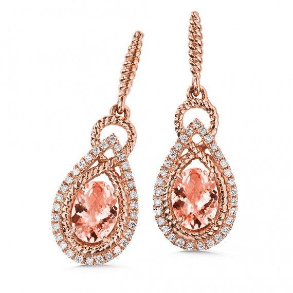 Holiday wish list Morganite & Diamond Earrings in 14K Rose Gold